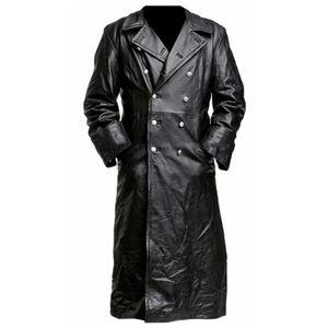 ABOORUN Erkek Uzun Deri Ceket Trençkot Sonbahar Kış Vintage PU Deri Ceket 2019 Siyah Casual Dış Giyim Erkek R2690