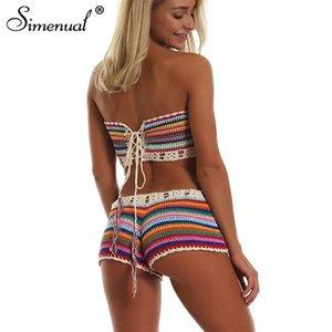Rainbow Striped Crochet Set Women Summer Swimwear Handmade Sexy Beachwear Hot BOHO Hollow Out Bathing Suits Bandage New