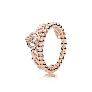925 plata esterlina mi princesa apilable conjunto de anillo original de la caja original para las mujeres de Pandora Body CZ Diamond Crown 18k anillo de oro rosa