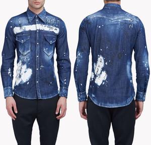 Erkekler Graffiti Boyalı Hasar Gömlek Erkek Gömlek Modelleri Casual Katı Renk Denim Slim Fit Mens