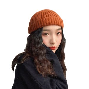 Sparsil Women Men Hip Hop Knitted Wool Beanies Unisex Winter Street Pumpkin Portable Melon Hat High Quality Brimless SkullCap