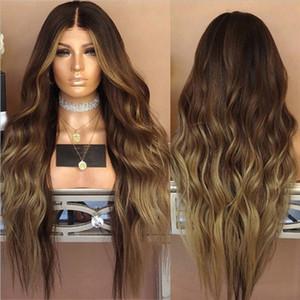 Shuowen Synthetic Remy peruca de cabelo 26 polegadas Natural onduladas perruques soltos Onda 15 Styles onda do corpo Ombre Soft Color Perucas Wig-78