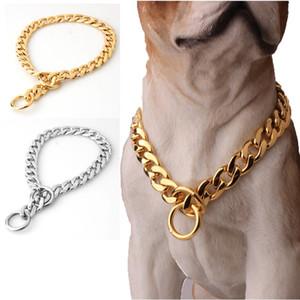 """Köpek Malzemeleri 14-31 """"Köpek Altın Zincir Yaka 11mm Geniş Ton Çift Curb Küba Rombo Bağlantı 316L Paslanmaz Çelik Toptan Pet Takı"""