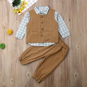 Pudcoco الخريف الوليد الطفل الاطفال بنين البدلة الرسمية سهرة الرجل المحترم كم طويل بلايز السراويل معطف الزي الملابس مل 3pcs