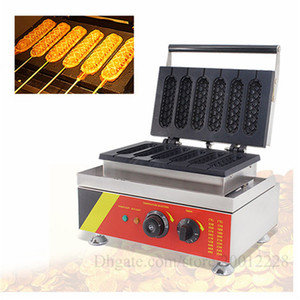 110V 220V Lolly Hotdog Waffle Maker Comercial antiadherente Muffin Hot Dog Waffle Machine 1500 W 6 moldes con temporizador envío gratis