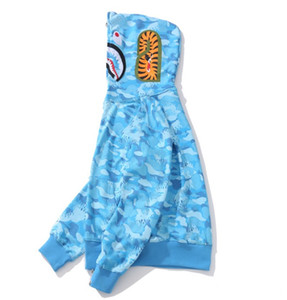 Мужские толстовки акула вышивки Подросток Розовый Синий Cam MA1 Flight Мужской Tide Shark Hoodie Мужские Пары с капюшоном Куртки