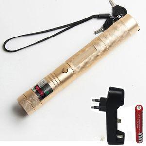 10000m 532 nm grüner Laser-Anblick Laser 303 Zeiger Leistungsstarke Gerät justierbarer Fokus Lazer mit Laser 303 + Ladegerät + 18650