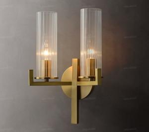 Pós-moderna de cabeceira quarto Wall Light Nordic Todos Copper Simples Sala TV Lâmpadas de parede de vidro luxuoso banheiro luminárias LLFA