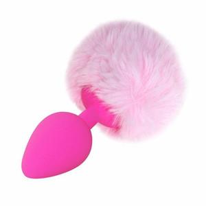 Plugue de Plush Brinquedos de Silicone Anal Cosplay Bonito Cauda Anal Casais Brinquedo Erótico Man Women sex Rose Plugs