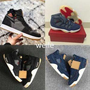 Pattini di pallacanestro del Mens 4 6 11 13 Denim Ls Travis Uomo Nero Blue Jeans 4s 11s 13s 1s allenatori sportivi scarpe da tennis Taglia 7-13