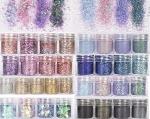 (10 ml / jar) 3D Nail Art Pailletten Mixed Glitter Puder Pailletten Puder für Nagel-Kunst-Dekoration holographischen Effekt