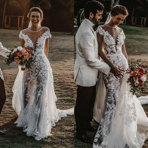 2020 Overskirt Wedding Dresses With Detachable Train Appliqued Beaded Neck Cap Sleeve Country Wedding Gowns Robe De Mariee