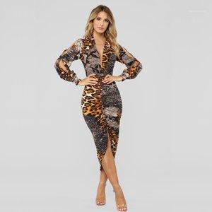 Lanterne manches robes femmes robe léopard Designer Femme d'été Dresse Summer Fashion V Neck