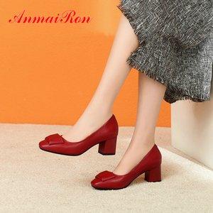 ANMAIRON 2020 Designers Ufficio Career Slip-on scarpe da sposa di base di lusso scarpe cuoio genuino signore Toe donne rotonde