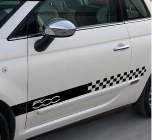 2 pcs Car Styling Saia Lateral Sill Racing Stripes Decalque Adesivos para Fiat 500 Chequer Estilo Bandeira Gráfica Porta Lateral Adesivos # 01
