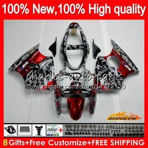 Cuerpo para Kawasaki ZX636 camuflaje rojo ZX 600 CC 6R ZX6R ZX636 00 01 02 37HC.8 ZX 636 600CC ZX6R ZX600 ZX 6R 2000 2001 2002 carenado kit