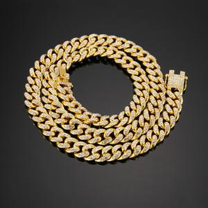 12 mm papillon large boucle Electroplated chaîne cubaine de Miami Cuban Link Chain Collier Bijoux Collier Hip hop hommes