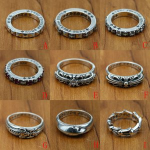 new 925 sterling silver jewelry vintage style antique silver hand-made designer band rings crosses K5660