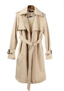 جديد ربيع الخريف أزياء المرأة عارضة الكاكي خندق معطف طويل ملابس فضفاضة لسيدة مع حزام شحن مجاني