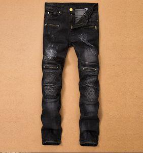 TR Mens Denim Рваные джинсы Slim Fit Stretch Брюки Лоскутная Разорванные Zipper Pantalons Pour Hommes режим Casual Карандаш Брюки Plus S