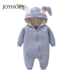 Joyhopy 1 adet Bebek Romper Çocuk Çocuk Sevimli Tavşan Kapşonlu Uzun Kollu Tulum Bebek Ürün, pamuk Yenidoğan Bebek Tulum J190525