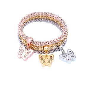 Pulseras de múltiples capas de la pulsera de cadena de maíz niñas estiramiento elástico 3PCS oro / plata / oro rosa pulseras de cristal de circón encanto