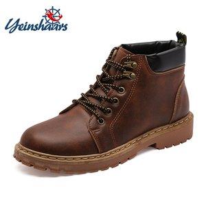 YEINSHAARS Stivali da uomo vintage da uomo in pelle di alta qualità con lacci in pelle scarpe casual comode stivali da lavoro di sicurezza