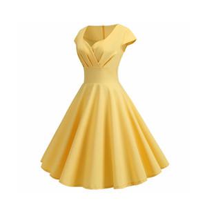 Летнее платье женщин V шеи Большой свинг Vintage платье Robe Femme Элегантный ретро прикалывать офиса партии Midi платья плюс размер