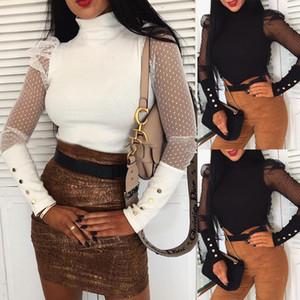 Женская сетка слоеного рукава топы пуловер свитер блузка свободный джемпер ребристые рубашки