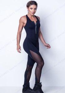 2020 Sexy Negro Malla Patchwork Mono Bodycon Gimnasio Gimnasio Monos Leggings Cuello en V Profundo Cremallera Body Elástico Playsuits Bueno de las mujeres