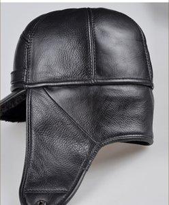 RY0201 inverno maschio orecchio caldo Protezione Bomber Man Hat Vera Pelle Faux Fur All'interno nero / Brown Ultra Large Size 54-62cm Caps