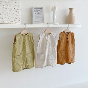 Newborn Baby Boys Girls Bodysuits Button Jumpsuit Outfits Sleeveless Summer Cotton Solid Color Baby Bodysuits One-Pieces 0-24MZ62a#
