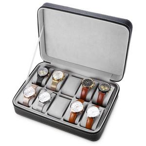 10 Grilles En Cuir PU Voyage Montre Boîte De Rangement Case Zipper Montre-Boîte Organisateur Titulaire pour Horloge Montres Boîtes À Bijoux Affichage
