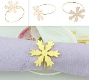 Navidad copo de nieve anillo de servilleta de metal dorado servilleta titular de la boda fiesta de cumpleaños mesa decoración servilleta titular 15 unids