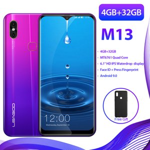 Súper pantalla grande Smartphone Leagoo M13 4GB RAM 32 GB ROM MT6761 Android 9.0 Cara Desbloqueado Dual Sim FDD LTE 4G Teléfono móvil inteligente