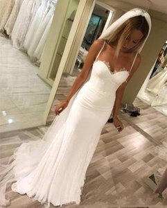 2020 Long Spaghetti Beach Mermaid Wedding Dress With Sleeveless Sweep Train Boho Bridal Dress Wedding Gown Custom Made