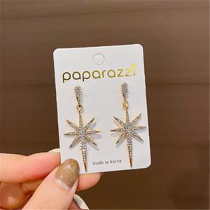 Designer female 925 silver needle European and American fashion starlight full diamond earrings new tassel pendant earrings