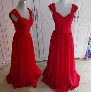 New Arrival Two Shoulders Lace and Chiffon A-line Long Prom Pageant Bridesmaid Dresses