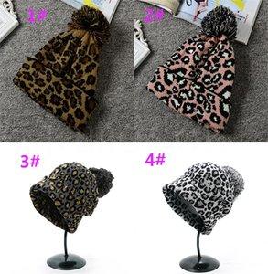 Крышка вязания осенью и зимой теплая мода дикий леопард большие мяч вязать шерстяные шапки шляпа шляпа каска DC302