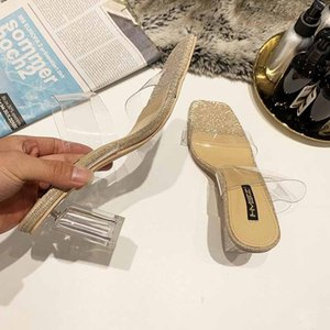 Fascinating2019 Femme Transparent Autres Vêtements All-Match Cruelle Sandales Hautes En Cristal Avec Pantoufle
