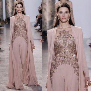 2020 Elie Saab Erröten rosa Abendkleider Crystals Beaded Sheer Jewel Ausschnitt Abendkleid mit Cape Frauen Formal Outfit Vestido de Noche