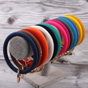 Top Selling Silicone Jelly Keyring Bangle Bracelet Colorful Silicone Keychain Bangle Big O Key Ring Wrist Strap Bracelets Bangles