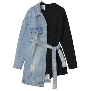 NEWDISCVRY Loose Fit Denim Split Bandage Sweatshirt 2020 Spring New Round Neck Long Sleeve Women Big Size Fashion Tide Y200706