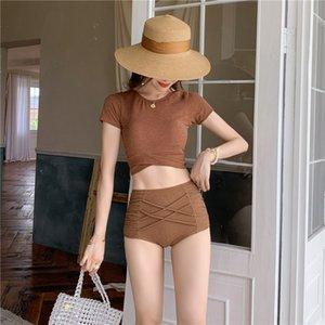 Conservatori femminili 2020 piccola maglia personalizzati costume da bagno bikini pantaloni alti bikini a vita divisi in due pezzi costume da bagno della molla calda