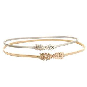 1Pcs Elegant Women Belt Gold Silver Flower Leaf Shaped Waist Belt Fashion Metal Stretch Waistband Female Elastic Dress Belts