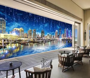 Пользовательские 3D Mural Wallpaper Creative Extended HD ночной город ночной городской пейзаж панорама Настенная живопись шелковые обои