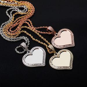 Love Heart Photo Necklace Luxury Bling Zircon 18K Gold Rhodium Plated DIY Hip Hop Men Women Designer Necklaces