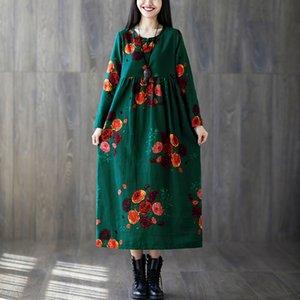 Primavera Estate abito floreale dell'annata tasche di stampa di un pezzo Baggy extrasize EaseHut O-collo a maniche lunghe Donne Cotone Lino Dress T200320