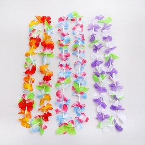 50pcs Hawaiian leis Garland Artificial Necklace Hawaii Flowers Wreath Party Supplies Beach Decor