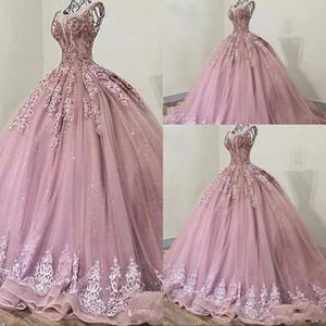 Nouveau Dusty Rose Quinceanera Jewel cou illusion dentelle perles de cristal douce Appliques 16 Longueur étage robe de bal Prom Party Robes de soirée